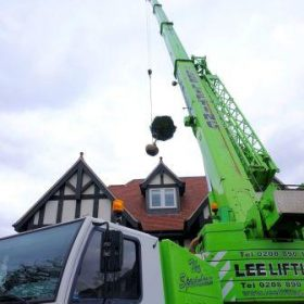 lifting topiary tree over a house