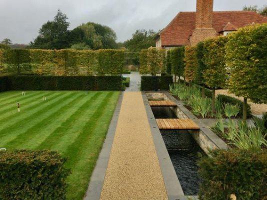 water feature in formal garden
